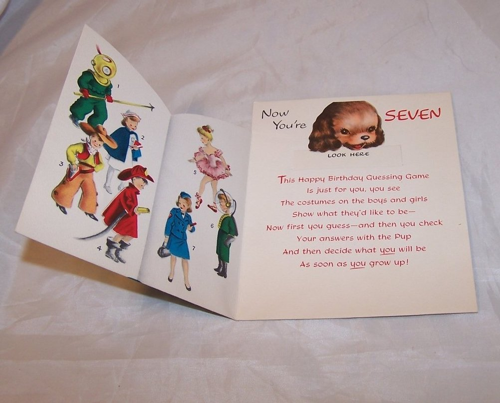 Image 1 of Birthday Card for Seven Year Old, Vintage, Unused, Norcross, New York