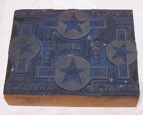 Military Metal and Wood Stamp, Army Navy