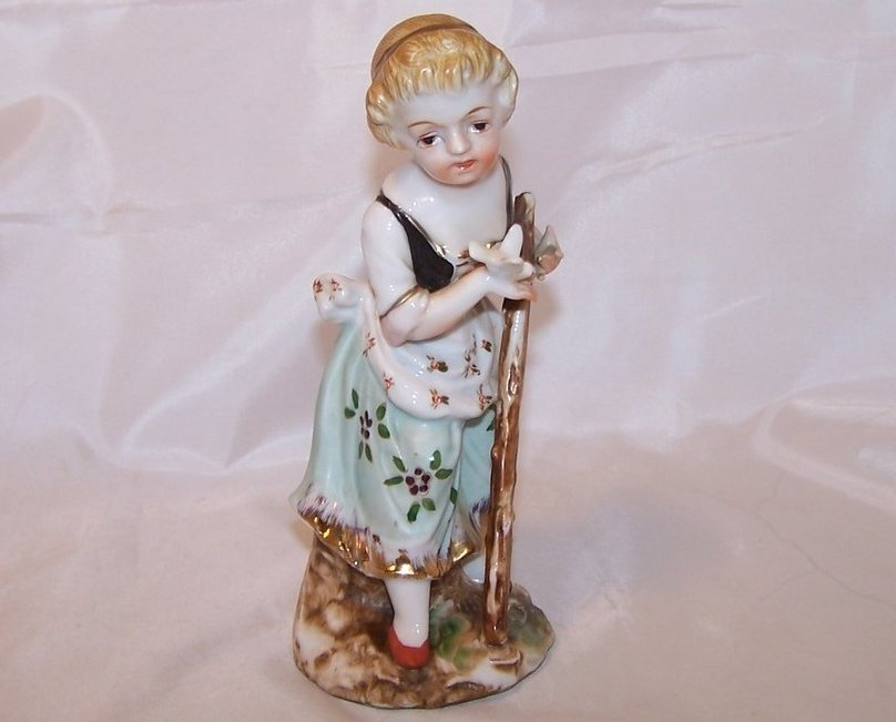Peasant Girl w Dove, Walking Stick, Porcelain Figurine