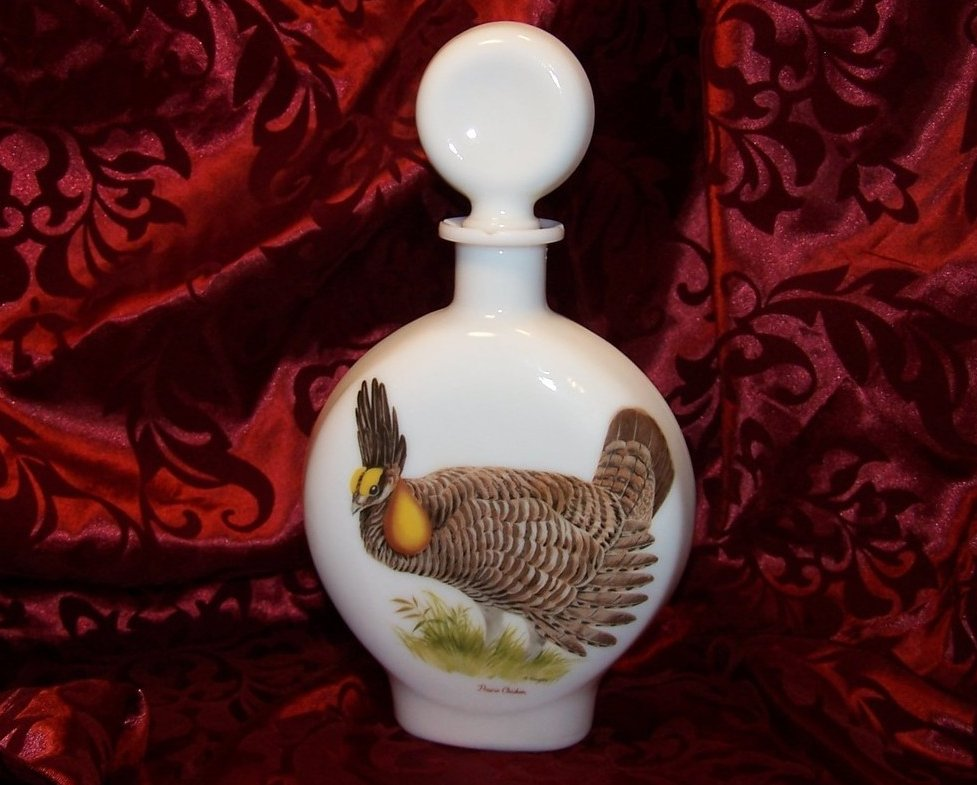 Prairie Chicken Field Birds, Singer, Milk Glass Decanter Bottle