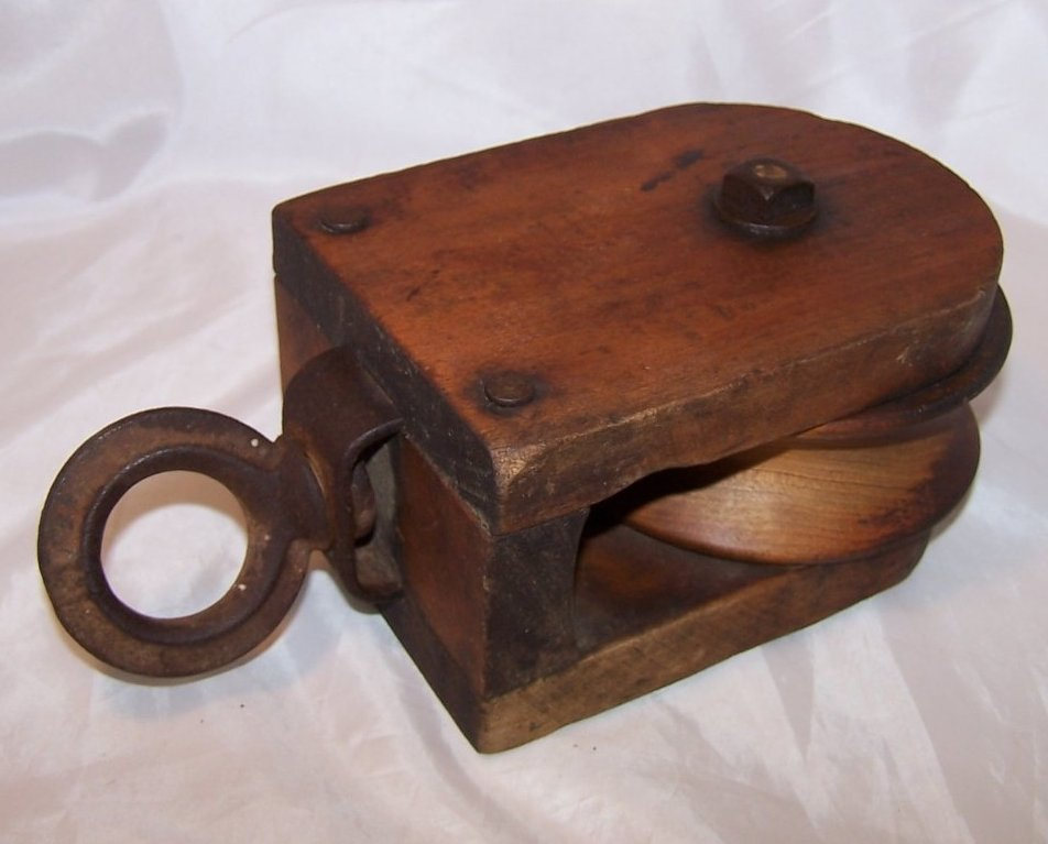 Image 1 of Wood Pulley Wheel w Iron Hanging Loop, Handmade, Vintage