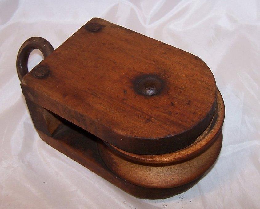 Image 2 of Wood Pulley Wheel w Iron Hanging Loop, Handmade, Vintage