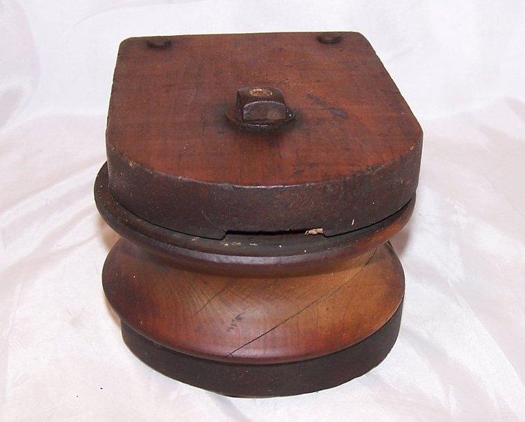 Image 3 of Wood Pulley Wheel w Iron Hanging Loop, Handmade, Vintage