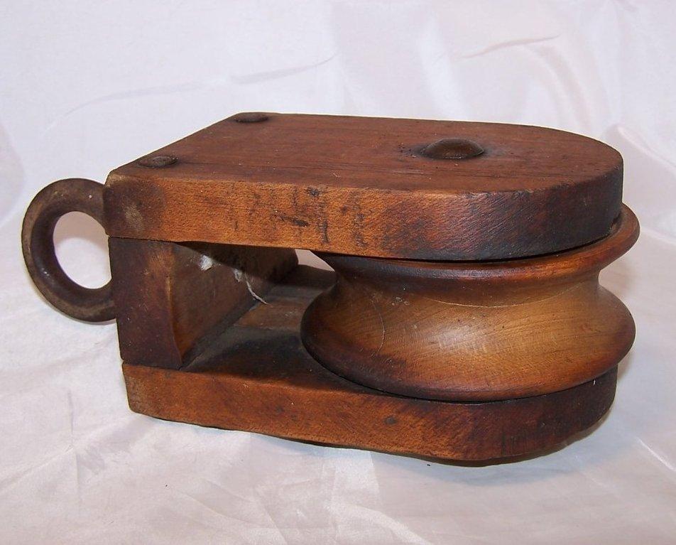 Image 4 of Wood Pulley Wheel w Iron Hanging Loop, Handmade, Vintage