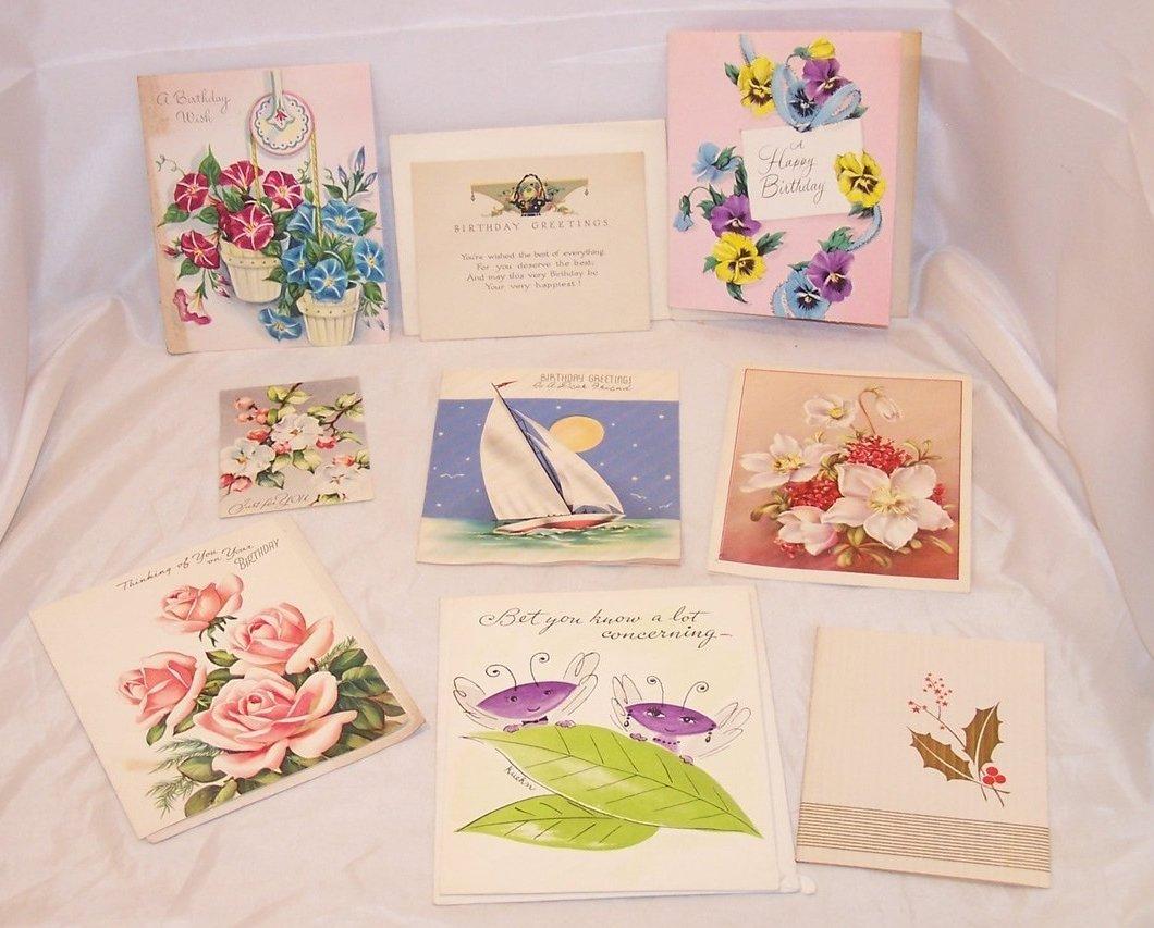 Variety of 9 Vintage Unused Cards, Birthday, Anniversary