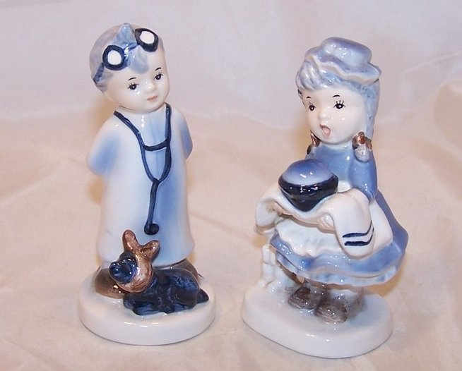Little Vet Boy and Dinner Time Girl Figurines, Napco, Japan Japanese