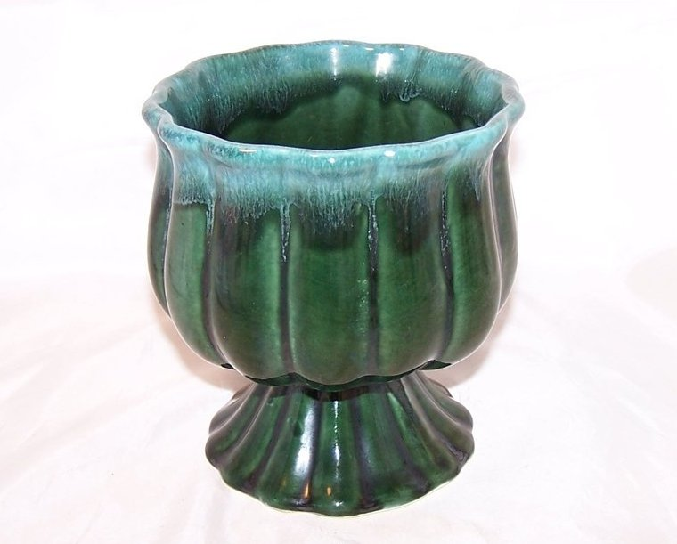 Hull Green Dripware Flower Vase, Planter