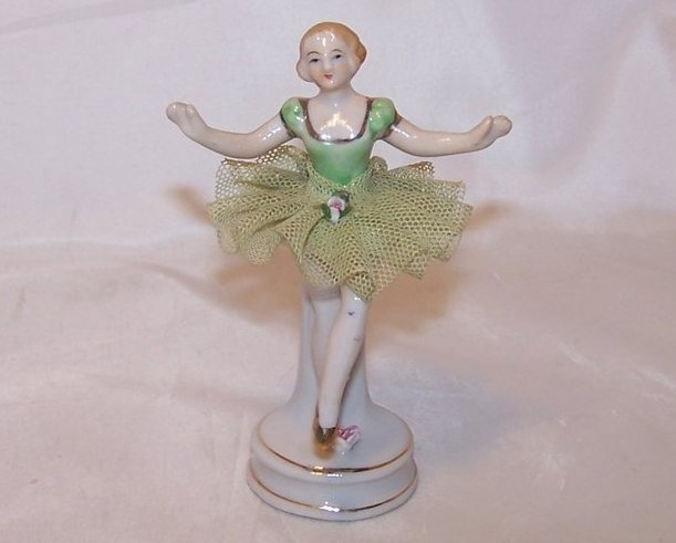 Ballerina in Green, Porcelain Lace Figurine, Folded Skirt, Japan, Japanese
