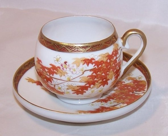 Autumn Leaves Tea Cup, Demitasse Cup and Saucer, China