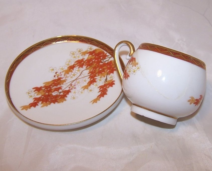 Image 2 of Autumn Leaves Tea Cup, Demitasse Cup and Saucer, China