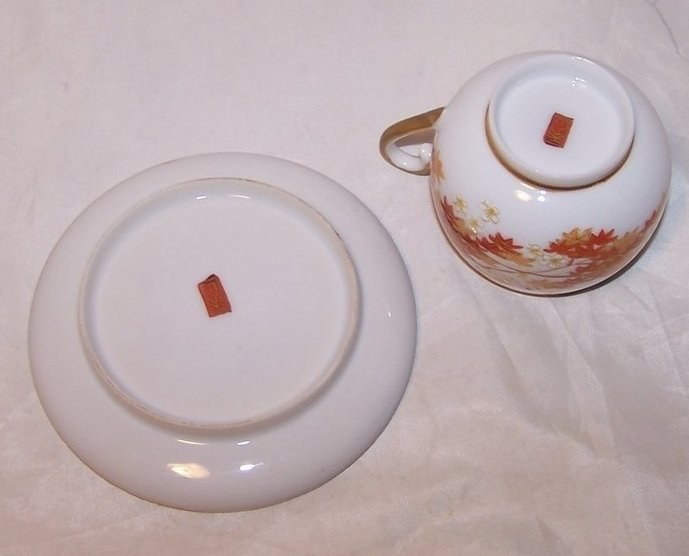 Image 4 of Autumn Leaves Tea Cup, Demitasse Cup and Saucer, China