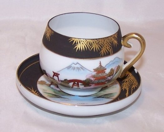 Village, Mountain Scene Geisha Tea Cup, Demitasse Cup and Saucer, China