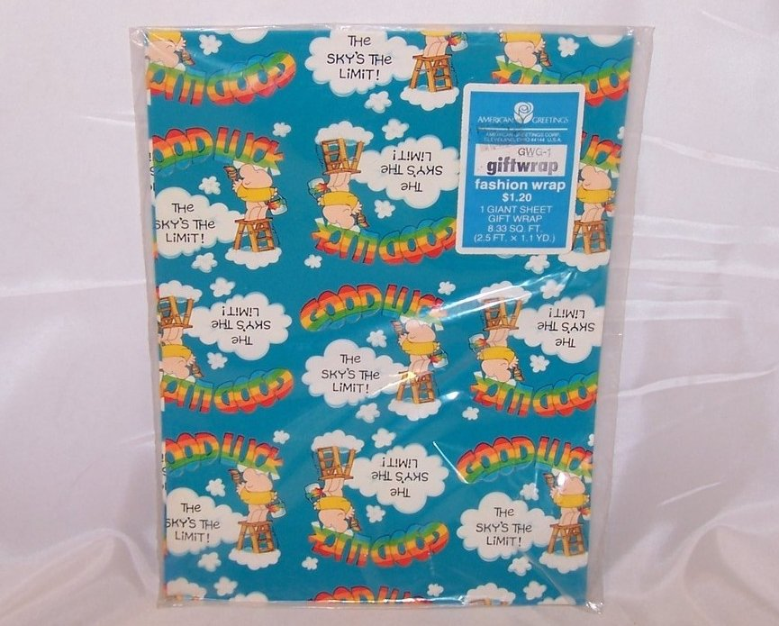Good Luck, The Skys the Limit, Vintage Ziggy Gift Wrapping Paper, New in Package