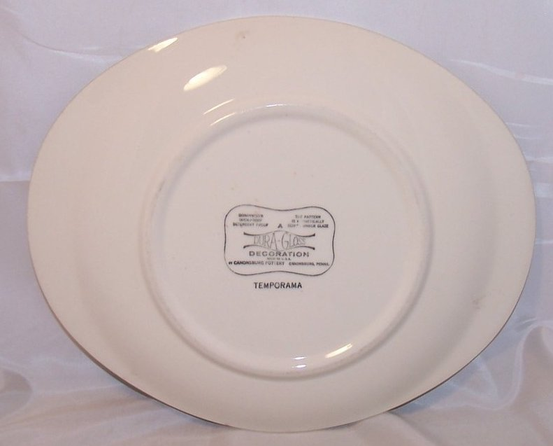 Image 1 of Temporama Oval Serving Platter, Plate, Dish, Canonsburg Pottery, Dura Gloss