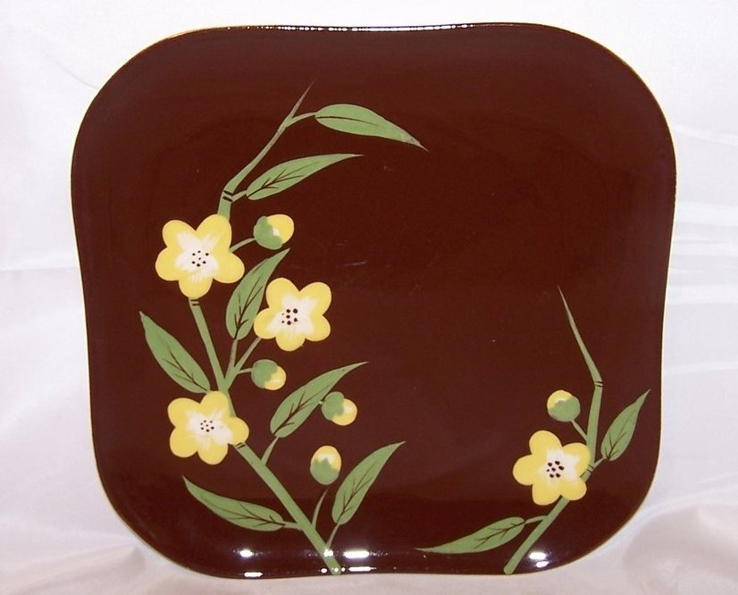 Yellow Blossoms on Brown Square Dinner Plate, Weil Ware, Hand Decorated