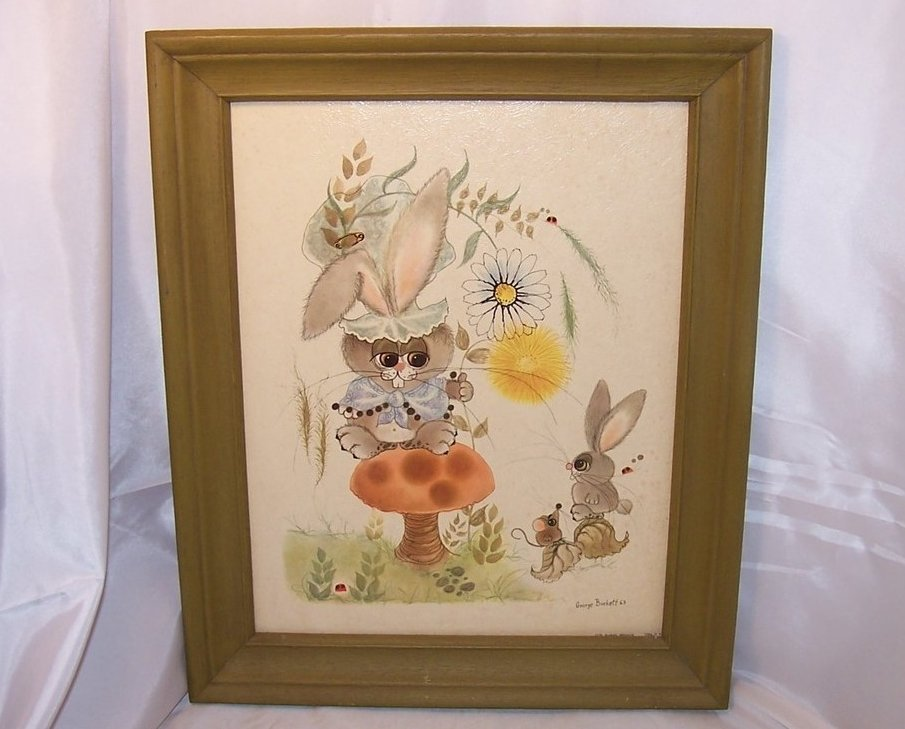 1963 George Buckett Litho Bunny, Rabbit, Mouse, Ladybug Lithograph, Framed