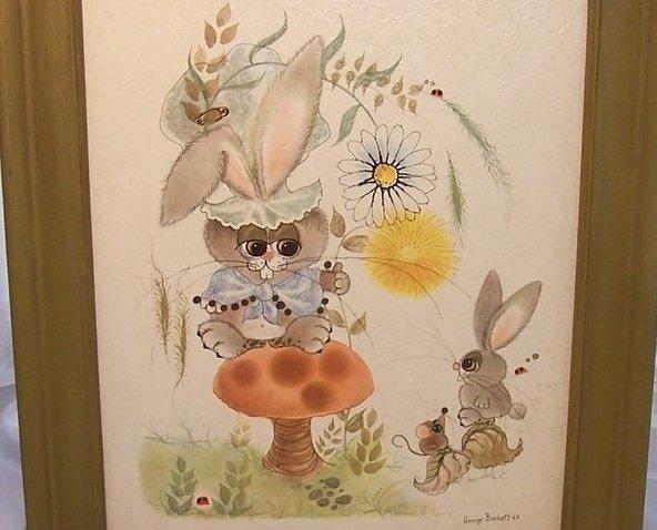 Image 1 of 1963 George Buckett Litho Bunny, Rabbit, Mouse, Ladybug Lithograph, Framed
