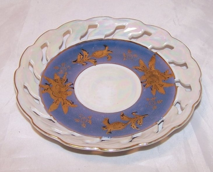 Gold Flowers on Blue, Lusterware, Opalescent Plate