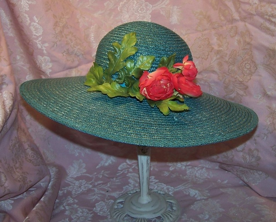 Image 0 of New Wide Brim Aqua Straw Hat with Roses, Great Colors
