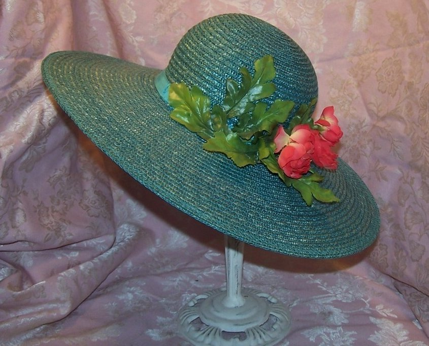 Image 1 of New Wide Brim Aqua Straw Hat with Roses, Great Colors