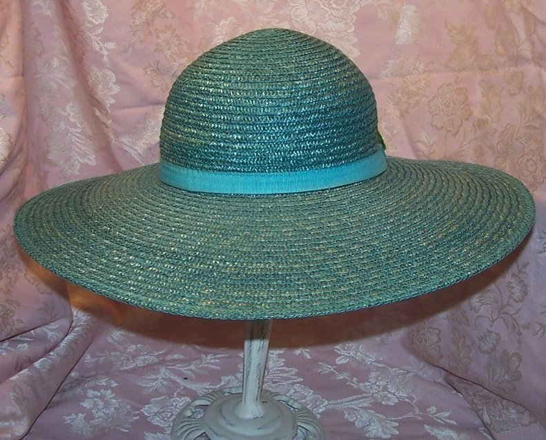 Image 2 of New Wide Brim Aqua Straw Hat with Roses, Great Colors