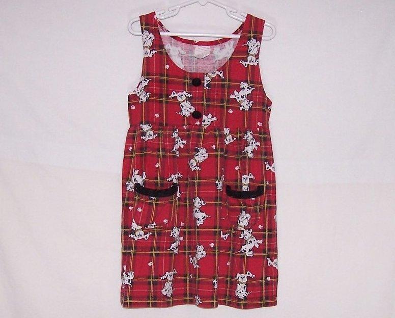 Girls Sz 6 Dalmatian Dog Red Plaid Jumper Dress
