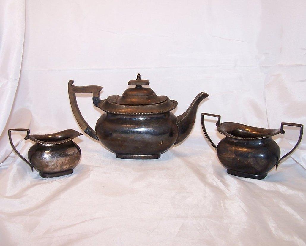 Walker and Hall Silver Tea Set, Teapot, Sugar, Creamer, Sheffield