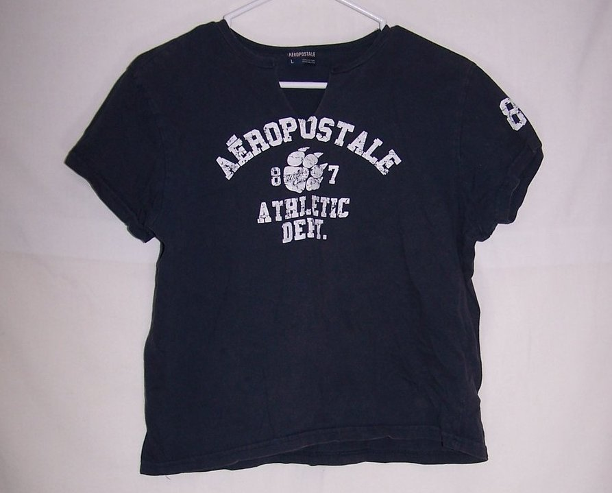 Aeropostale Crop Top Jrs Size L Dk Blue Shirt