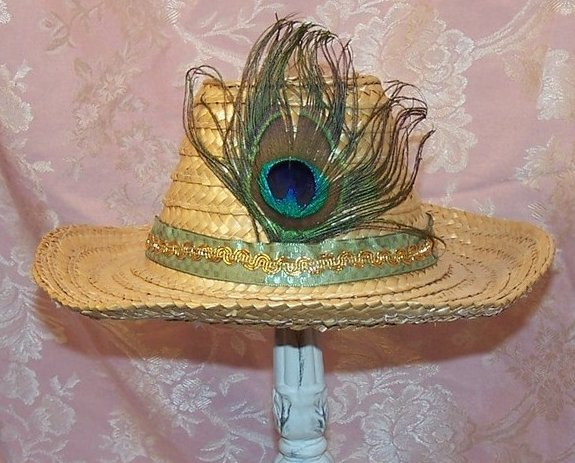 Childs Cowgirl Hat w Peacock Eye Feather