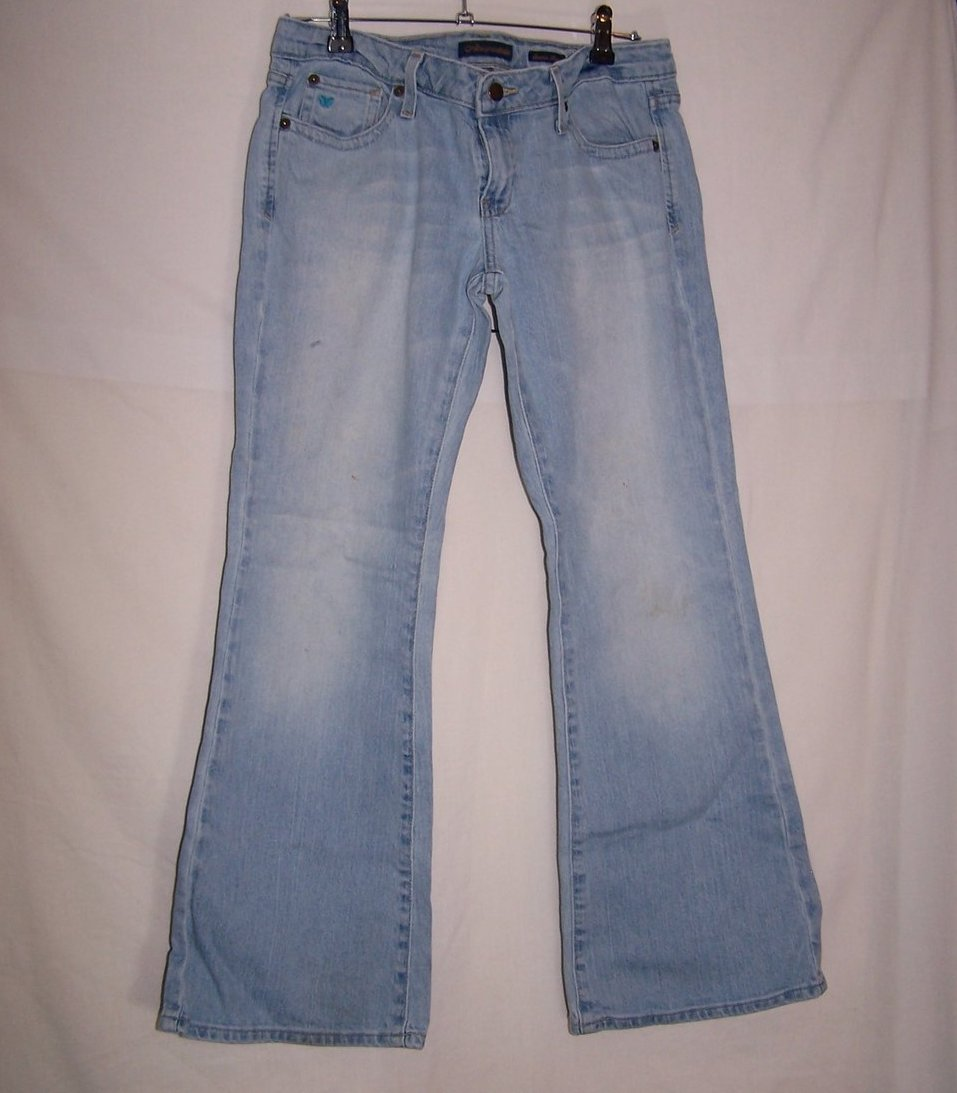 Aeropostale Stretch Flare Jeans, SZ 7, 8  Front Pocket Blue Butterfly