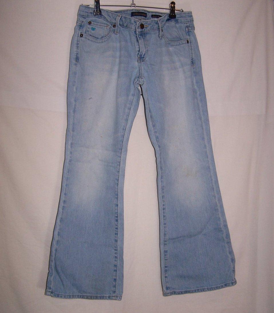 Aeropostale Stretch Flare Jeans, SZ 7, 8  Front Pocket Blue Butterfly