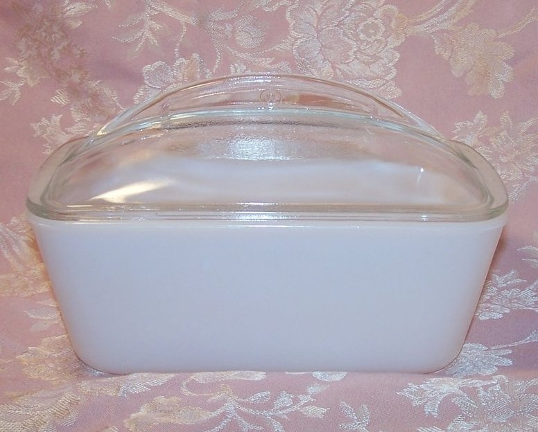 Milk Glass Refrigerator Glass Dish, Loaf Pan w Lid