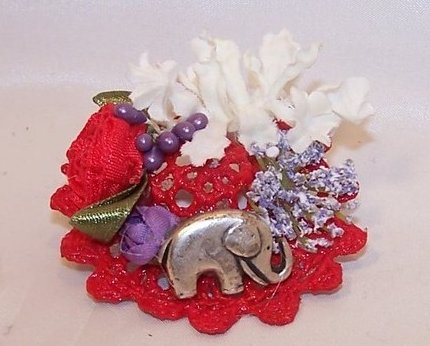 New Woven Red Hat Pin w Elephant, Flowers