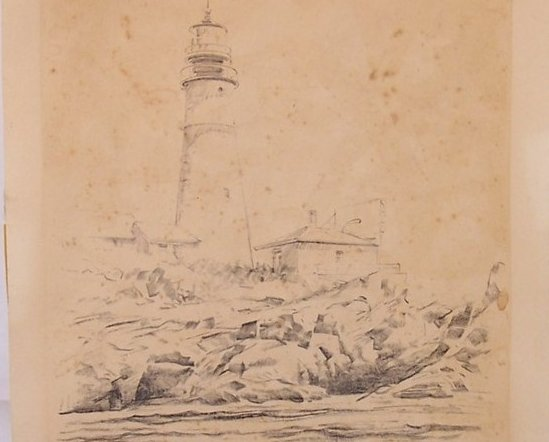 Lighthouse w Keepers House, by Jas F Murray, 1948, Lith O Sketch, USA