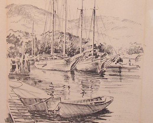 Sailboats Boats Boat at Dock, by Jas F Murray, 1951, Lith O Sketch, USA