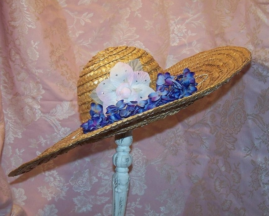 New Straw Hat w Flowers, Rhinestones, Beads