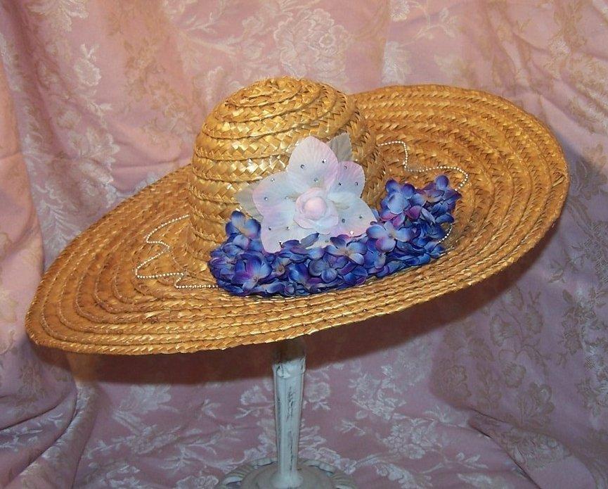 Image 1 of New Straw Hat w Flowers, Rhinestones, Beads