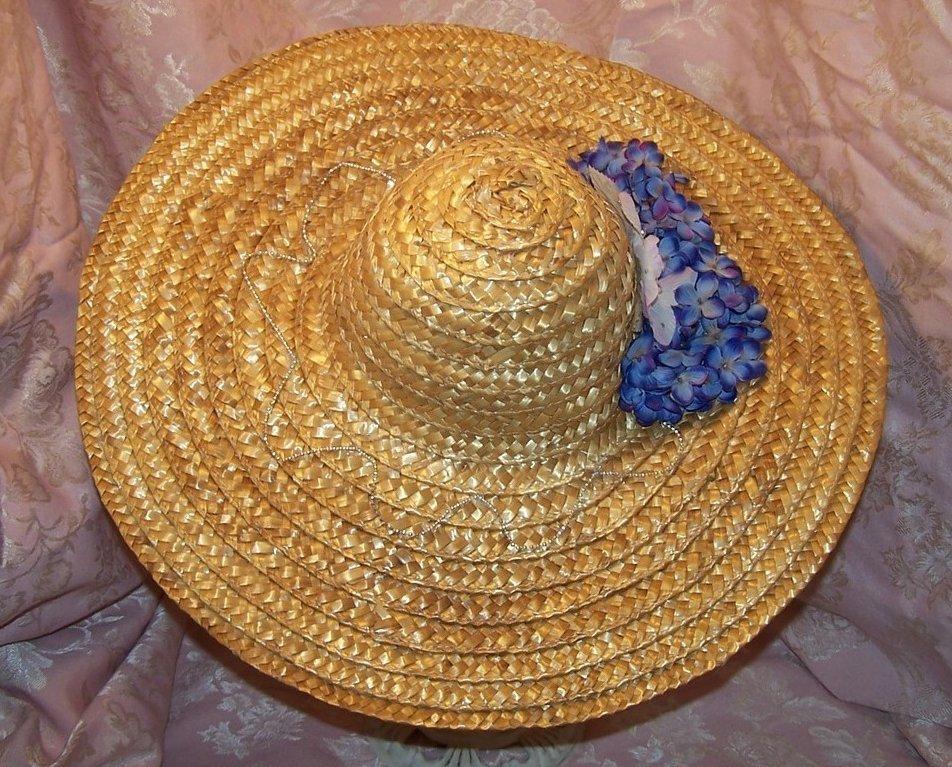 Image 2 of New Straw Hat w Flowers, Rhinestones, Beads