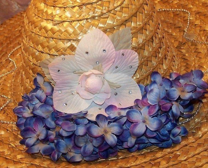 Image 3 of New Straw Hat w Flowers, Rhinestones, Beads