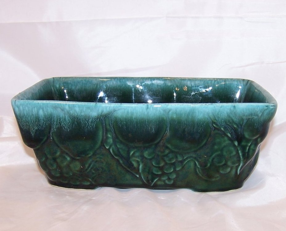 Hull Green Dripware Rectangular Planter