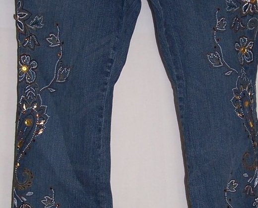 Decorated Jeans, Jrs Sz 8P, Distressed