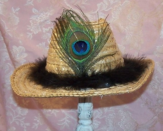 Cowgirl Hat w Feather Band, Peacock Eye Feather, Child Size New