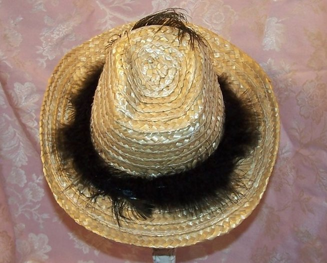 Image 1 of Cowgirl Hat w Feather Band, Peacock Eye Feather, Child Size New