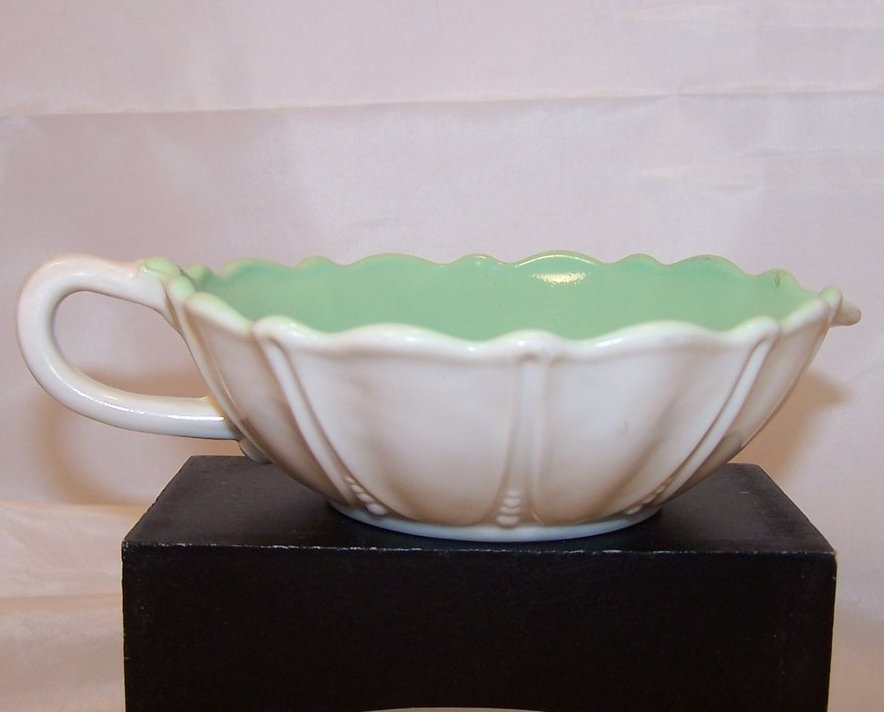 Ivory Flower Shaped Creamer w Green Interior