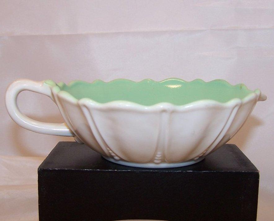 Ivory Flower Shaped Creamer w Green Interior