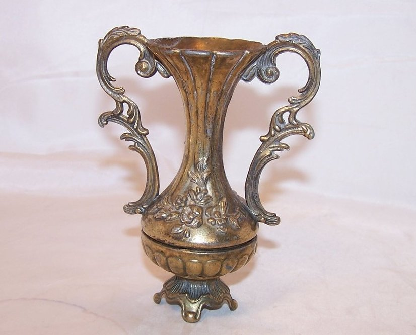 Loving Cup Vintage Italian Ornate Vase w Floral Design, Italy, Residue