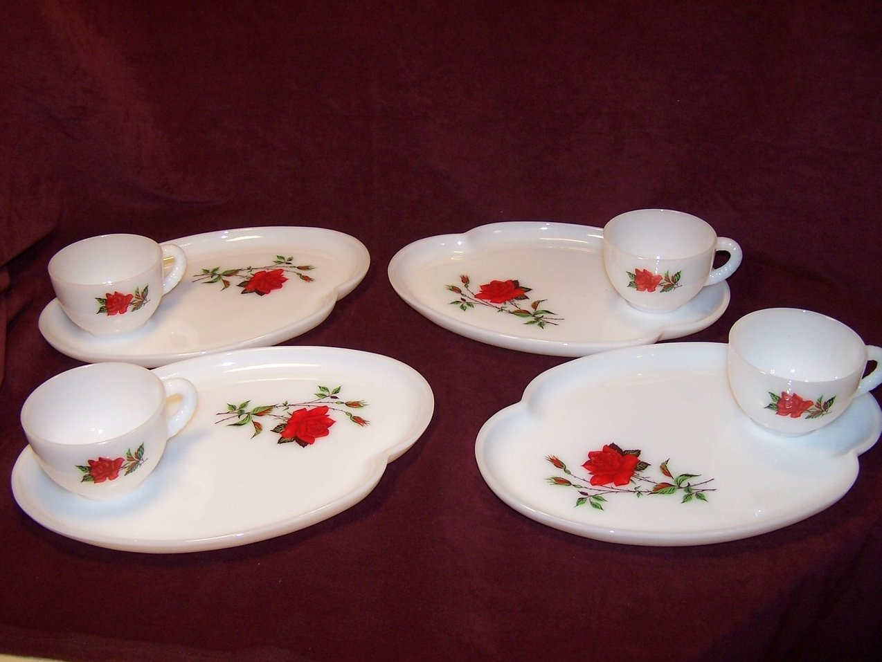 Snack Plate Teacup Rosecrest Milk Glass Federal Glass