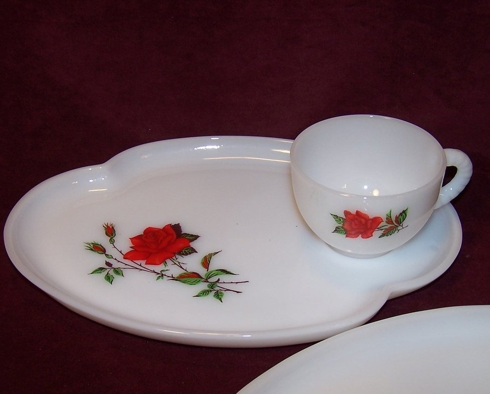 Image 2 of Snack Plate, Teacup,  Rosecrest Milk Glass, Federal Glass