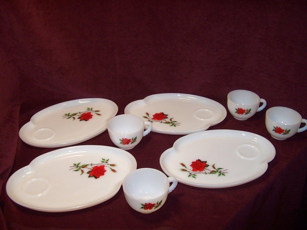 Image 3 of Snack Plate, Teacup,  Rosecrest Milk Glass, Federal Glass