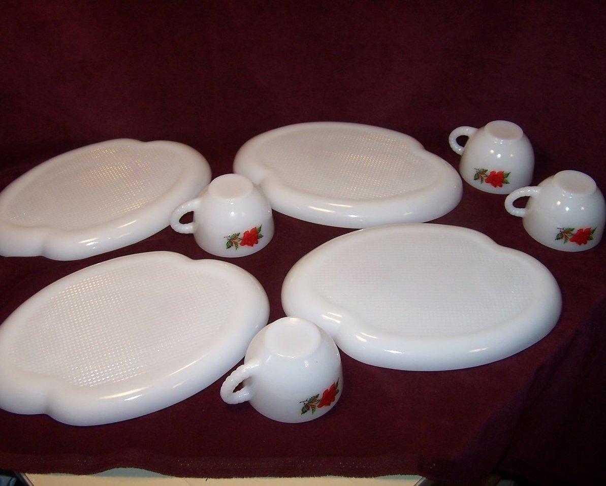 Image 4 of Snack Plate, Teacup,  Rosecrest Milk Glass, Federal Glass